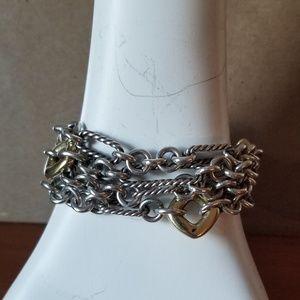 David Yurman silver figaro 18k gold multi bracelet